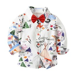 Cute Boys Cartoni Stampa Camicie bianche Tees con fiocco Western Fashion Candy Color Spring Autumn Cute Children Camicetta Top da camicia bianca fornitori