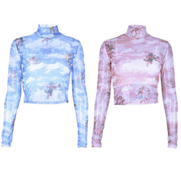 camisa alta do laço do pescoço das senhoras Desconto Sexy Lace Perspectiva Umbigo T-shirt Para As Mulheres Senhoras New High-Neck Longo-sleeved Malha Impresso Magro Moda Casual Primavera Verão