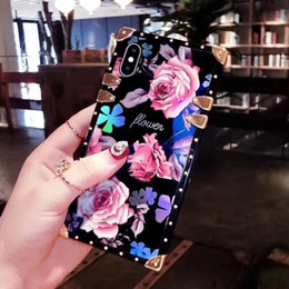Старинный розовый телефон онлайн-Роскошный Дизайнер Цветочный Квадратный Чехол для IPhone X XS MAX XR 10 8 7 Plus 6 6 s Plus I Phone X Чехлы Vintage Rose Крышка сотового телефона Новый