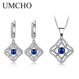 2019 ciondoli in argento 925 zaffiro blu UMCHO Blue Sapphire Set di gioielli con pietre preziose Collana pendente Orecchini per le donne 925 gioielli in argento sterling nozze zaffiro sconti ciondoli in argento 925 zaffiro blu