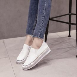 f1932e33 Gimnasio Casual Nuevos zapatos blancos, versión coreana de zapatos de ocio  con suela plana de estudiantes de suela gruesa, zapatos para muffins,  zapatillas ...