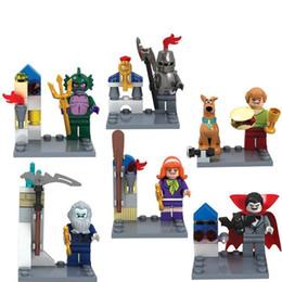 2019 brinquedos do homem-aranha azul 6 pçs / lote Scooby Doo Figuras Shaggy Vampiro Daphne Building Blocks Define Modelos Figuras Brinquedos Compatíveis Com L
