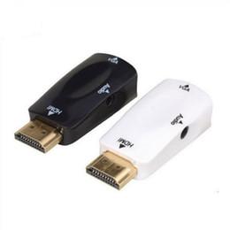 Cables de proyector para pc online-HDMI a VGA adaptador de audio Cables macho a hembra convertidor de HD 1080P de la caja de TV por cable Proyector de PC portátil