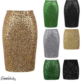 Pannello esterno delle donne del sequin dell'oro online-Mini gonna donna con paillettes Night Out Bodycon donna Mini gonna slim argento con glitter oro