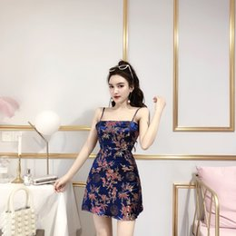 352469957dfc Summer Korean 2019 Sexy Women Nightclub Wear Evening Dresses Satin  Embroidery Sling Backless Short Skirt QC0180