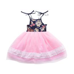 Neonata vestirsi vestiti online-Baby Girl Floral Tutu Dress Summer Flower Stampato Bow lace-up garza di pizzo per bambini vestito da partito per bambini Fashion Dress Abbigliamento