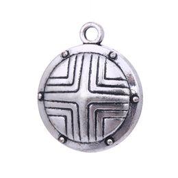 Argentina Myshape plata tibetana plateado escudo encanto de aleación de zinc de metal colgante diy encantos sin plomo libre de níquel 20 unids Suministro