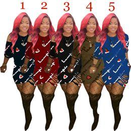 Robes décontractées pour fête en Ligne-champions casual femmes robes robe d'été mini robe de soirée robe d'impression manches courtes tenue décontractée femme vêtements livraison gratuite 5