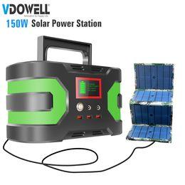 2019 power inverter geführt 150W 220 / 110V Tragbare Energiespeicher-Box Inverter Generator mit Lithium-Batterie mit DC / AC / USB-Ausgang für zu Hause, im Freien + 60W Solarpanel