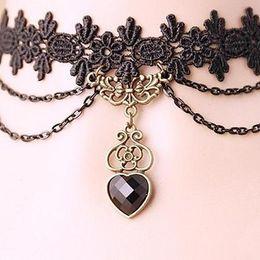 spitze-choker-halsbänder für frauen Rabatt Frauen Lace Perlen Love Heart Choker viktorianischen Steampunk-Stil Gothic Kragen Halskette Geschenk