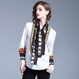 3871759fce00aad 2019 мода ретро национальный стиль женские блузки рубашки,красота печати  топы,хороший лук с длинным рукавом рубашки Леди