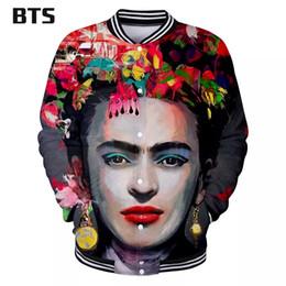 encaje negro chaqueta con cuentas corta Rebajas BTS Venta Caliente 3D Frida Kahlo Kawaii Chaqueta de manga larga Chaqueta de béisbol Ropa de Mujer 2018 Hip Hop Imprimir Tallas grandes Q1022-Q1033
