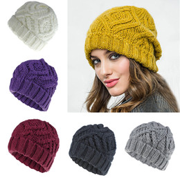 crochet maternity Coupons - Women Knitted Hats Fashion Diamond Square Soft Coarse Knit Cap Outdoor Winter Warm Skull Crochet Hats Woman Maternity Caps Supplies M230