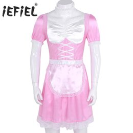 piece calzini del vestito Sconti Mens Sissy Girl Lingerie Maid Uniform Fancy Dress Giochi di ruolo Sexy Costumi Cosplay Clubwear Party Abito in raso con girocollo