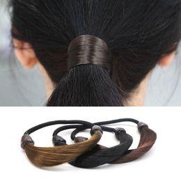 Корейский конский парик онлайн-Arherigele 1pcs Elastic Hair Bands for Women Hairband Girls Korean Wig Hair Ponytail Holder Rope Headwear Accessories