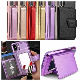 826b66b59 Leather Wallet Cases for iphone x XR XSMAX 7 8 plus With Credit Card Slots Mirror  Holder Kickstand Case for Samsung S10 plus S10e on sale