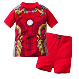 Kinder kurzarm pyjama online-Jungen Pyjamas Sets Kurzarm Kinder Nachtwäsche Baumwolle Kinder Pijama Nachtwäsche Homewear Mädchen Pyjama Nachthemd Bottom R
