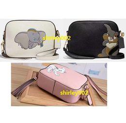 Kamerakunst online-Klassische einzigartige Art-Karikatur-Kameratasche. Niedlicher Cartoon-Dumbo, Kaninchen, Hundeschultertasche, hochwertige Umhängetaschen aus Genunine-Leder (5A).