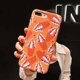 iphone ice Promotion Cas de téléphone portable pour Iphone Xs Max X Xr Orange Ice Cream pour Apple 7 8 6 Plus cas de téléphone souple en silicone liquide