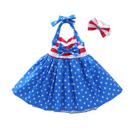 headband da independência Desconto Meninas verão Estrela Listrado Vestido Crianças Bandeira Americana Independence Day Sling Sem Encosto Vestido de Princesa Crianças Headband Vestuário C33