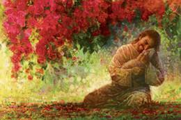 Rose rosse muro floreale online-Yongsung Kim YE sono mie Gesù Cristo che abbraccia la pecora Red Roses Home Decor HD Dipinti Stampa Olio Su Tela Wall Art Immagini 200109