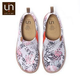 UIN Flora in March Design Painted Slip-on Canvas Shoes Women Casual Travel Flats Fashion Round Toe Ladies Loafers de