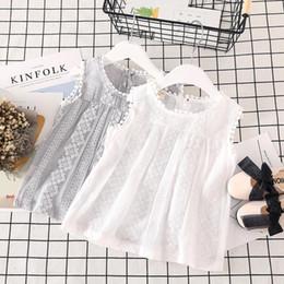 tees de encaje blanco chicas Rebajas Sweet Girl Lace Camiseta sin mangas Niña pequeña Summer Causal Camiseta Soft Cotton White Lovely Basic Tees Tops Ropa para niños
