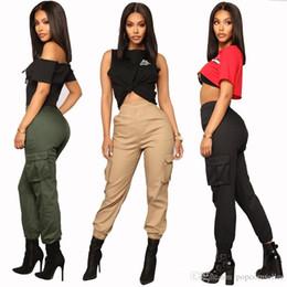 2019 carga mulheres calças estilo Desenhador das Mulheres Harem Pants Moda Multi Bolsos Cor Sólida Calças de Carga de Cintura Alta Solta Calças de Rua Estilo Mulheres desconto carga mulheres calças estilo