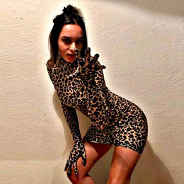 leopard print collars Coupons - long sleeve with gloves high neck Leopard print bodycon dress women cotton Christmas partysexy mini dress