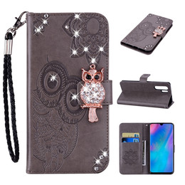 cute owl wallets Coupons - 3D Bling Diamond Owl Leather Wallet Case For Huawei P30 Pro P Smart 2019 Nova 4 Galaxy S10 Lite Plus Imprint Flower Lace Cute Flip Cover