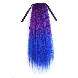 Парик для косплей парик онлайн-60cm Gradient Color Wig Ribbon Wavy Curly Long Ponytail Horsetail Clip Hair Extensions Long Synthetic Hair Wig for Women Cosplay
