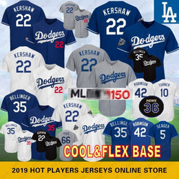 Baseball on-line-22 Clayton Kershaw 150º aniversário 35 Cody Bellinger Los Angeles Camisas de beisebol Dodgers 10 Justin Turner 5 Robbie 66 Seager 42 Puig