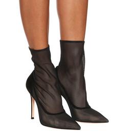 2019 chaussures d'été élégantes sexy Mode Femmes Cheville Bottes 2019 Patchwork Transparent Maille Bottes D'été Sexy Talons Hauts Chaussures Bottes Élégant Noir Zapatos De Mujer chaussures d'été élégantes sexy pas cher