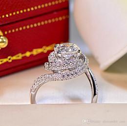 Anelli in argento sterling a banda larga online-Splendida linea Ampio anello Donna Brand Luxury Argento sterling 3CT Diamante CZ anelli di pietre preziose gioielli Cocktail Wedding Band Ring per le donne