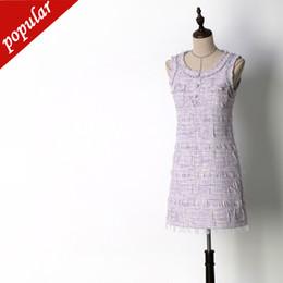 Maxi vestidos violeta claro online-Primavera Otoño Mujeres Luz Púrpura Tweed Vestidos Sin Mangas Damas Botones Borla Pluma Elegante Delgado Vestido de Tanque