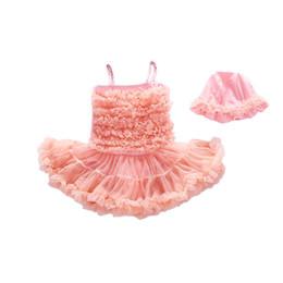 Argentina Nuevos trajes de baño para niños vestidos de tutú de encaje trajes de baño princesa Una pieza bikini + sombreros 2pcs niños Trajes de baño Trajes de baño para niños Trajes de baño A6434 cheap swim hats Suministro