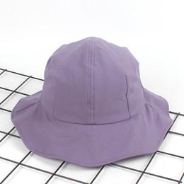 2020 sombreros rosados de la playa de las mujeres Nuevo ala grande Cubo Sombrero mujer Moda verano cúpula Bob Caps falbala panamas Playa Sol Pesca Bucket cap lavanda rosa naranja sombreros rosados de la playa de las mujeres baratos