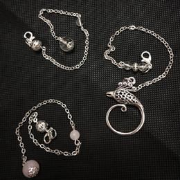 20Pc fatto a mano naturale chiaro quarzo cristallo quarzo rosa perline aragosta chiusura in argento placcato rame 18-22 cm link catena di fascino per il pendolo fare da opals verde braccialetto messicano fornitori