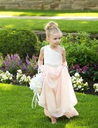 Um ombro flor menina dama de honra vestidos on-line-Um Ombro Flor Menina Vestidos para Casamentos Uma Linha Chiffon Crianças Vestidos Dama de Honra Custom Made Barato Primeira Comunhão Vestidos
