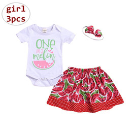 f1fd6dc8c6 Baby Girl Summer Outfits Toddler short sleeve romper + watermelon skirt +  headband 3pcs Set Boutique Clothing 4size