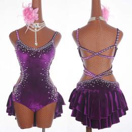 2019 mulheres de nylon vestido sexy New Sexy Vestido de Dança Latina Mulheres Moda Original Sem Encosto Vestidos Lady Rumba Competição de Flamenco Trajes de Dança MD19002 mulheres de nylon vestido sexy barato