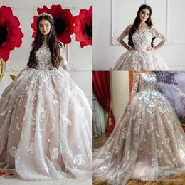2019 robe de soirée en dentelle bleu pastel Princesse Dubaï arabe robes de mariée robe de bal d'épaule pure demi manches manches dentelle Appliques ruché mariage robes de mariée brautkleid