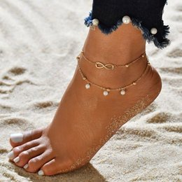 pendentif pieds d'argent Promotion Vintage Boho 5PCS / set Anklet Set pour les femmes Or Argent Couleur Perle Pendentif Infinity Hasma Main Coeur Pied Cheville BB177