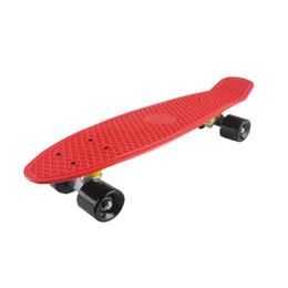 mini bordo lungo Sconti Quattro ruote 22 pollici Mini Cruiser Skateboard Street Long Skate Board Sport all'aria aperta per adulti o bambini 5 colori pastello