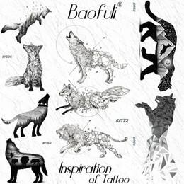 93bef7b9a Discount wolf tattoo stickers - Baofuli Geometric Wolf Diamond Lion Fox  Temporary Tattoos Sticker Waterproof Black