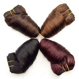 Бразильские волосы переплетение 8inch онлайн-Лучшей Бразильской Human Weave Spring Curly Wave 4шта Brown Свободных волны волосы девственница Wine Red 99J Боб Цветной человеческие волосы Пучки 8Inch