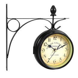 Садовые часы онлайн-Европейский стиль двухсторонние настенные часы Домашний сад настенные часы номер модели Часы творческий классические часы монохромный ZJ0454