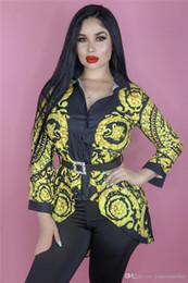 Canada Luxe Femmes Designer Shirt De La Mode Chaîne Glod Imprimé Revers Cou À Manches Longues Chemises De Mode Fantaisie Femmes Blouse Shirt cheap fancy long chain Offre
