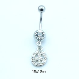 $enCountryForm.capitalKeyWord UK - Promotion! New Arrival Top Selling Wholesale Price Metal Fashion White Rhinestone Coin Belly Button Rings For Women Body Jewelry