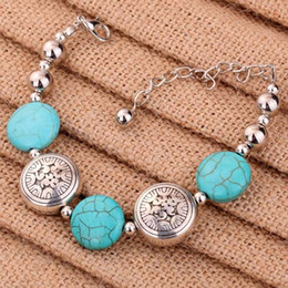 $enCountryForm.capitalKeyWord NZ - Fashion Jewelry Tibetan Silver Bangle Turquoise Women Charm Bracelet Retro turquoise bracelet Beaded Silver Chain Adjustable Carved Free DHL
